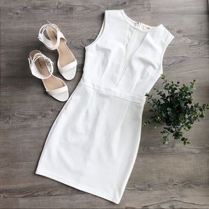 White mesh insert bodycon dress